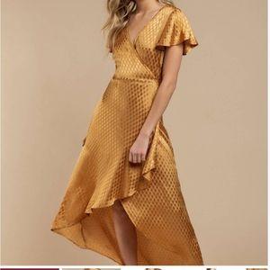 NWT Band of Gypsies Quinn Jacquard Gold Dress New